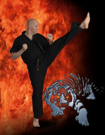 Mr. Christensen, Owner and Chief Instructor of Karate America Verona, extreme kick