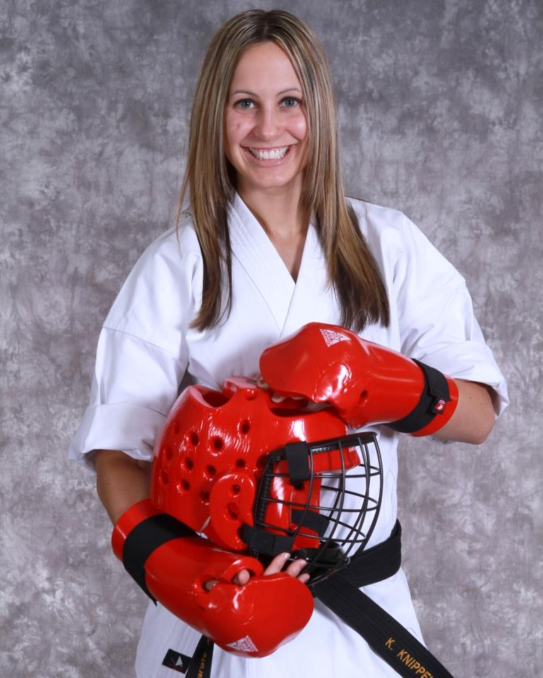 Fight Like a Girl! Adult Karate Student with Sparring Gear