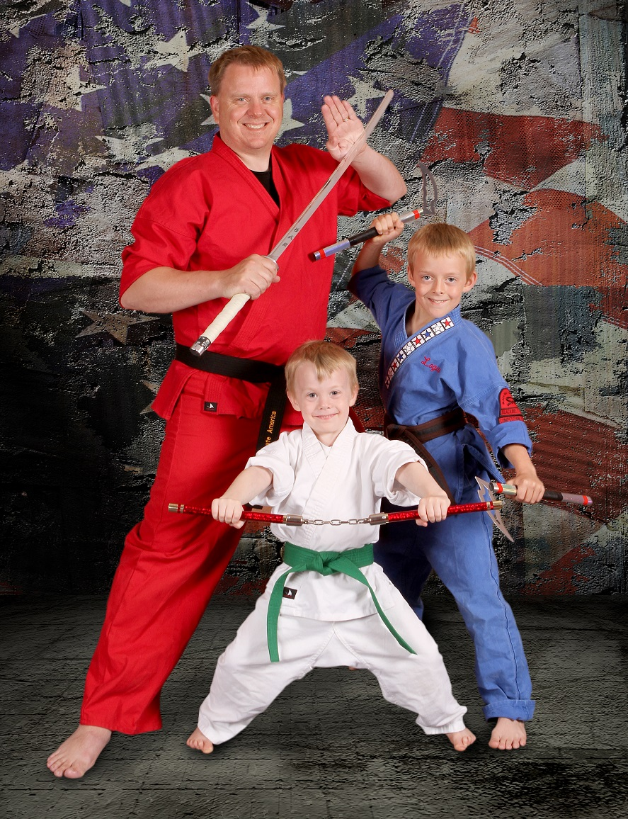 Happy Karate Family, kids and adult karate students with gear